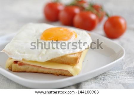 Croque madame sandwich - stock photo