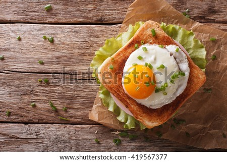 Croque madame sandwich closeup on the table horizontal view from above