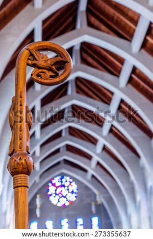 Crosier under Stone arches in Catholic church - stock photo