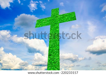 Cross Abstract on sky - stock photo