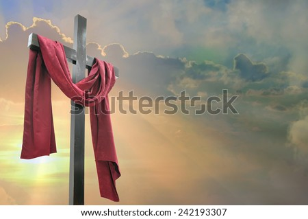 cross against the dramatic sky - stock photo