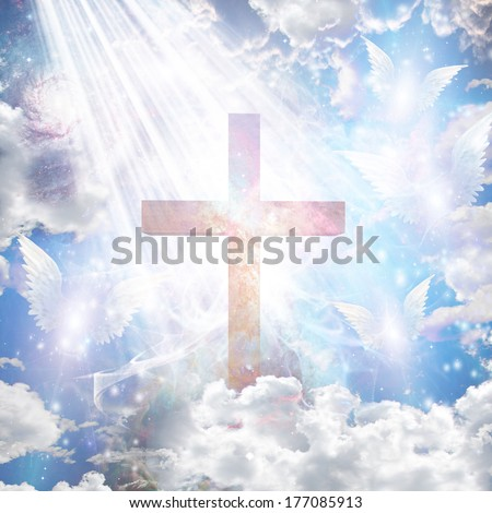 Cross and angelic forms - stock photo