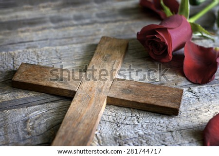 Cross and rose abstract religion sign symbol concept - stock photo