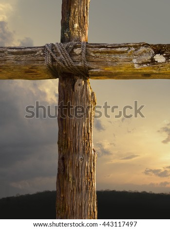 Cross And Sunset - stock photo