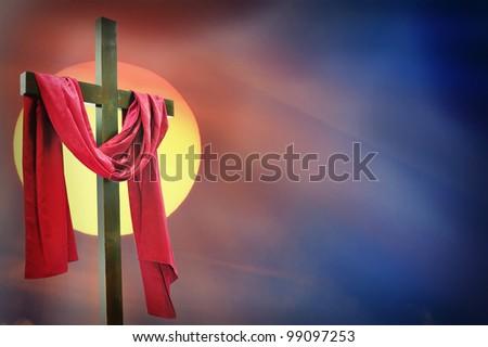 cross and sunset - stock photo