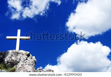 Cross  and the holy blue sky - stock photo