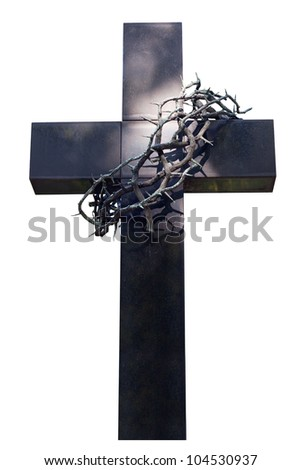 cross and thorns isolated - stock photo