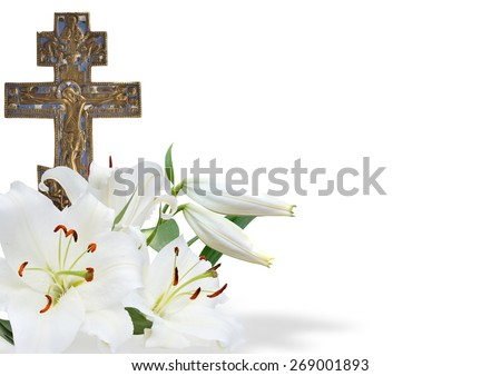 cross and white lily on white background - stock photo