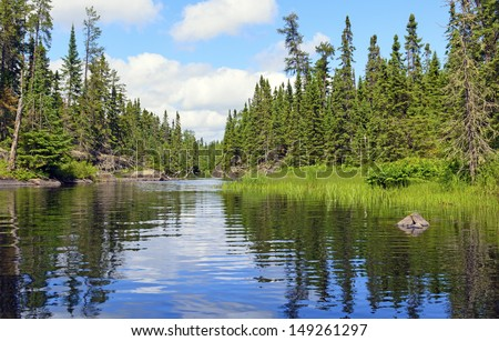Cross Bay Lake in the Boundary Waters in Minnesota - stock photo