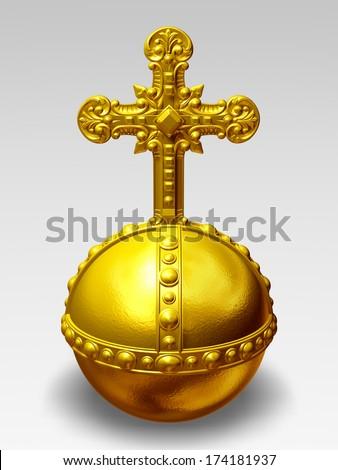 cross-bearing orb, Imperial orb, Globe cruciger - stock photo