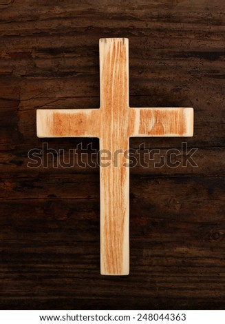 cross christian wood old  background top view - stock photo