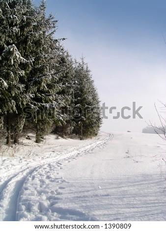 cross country ski trail - stock photo