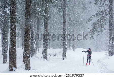 Cross country skier skiing pausing to find direction in bad weather. - stock photo