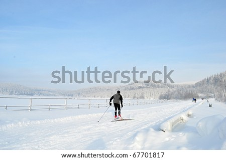 cross-country skiing - stock photo