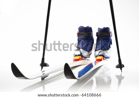 Cross country skis and shoes - stock photo