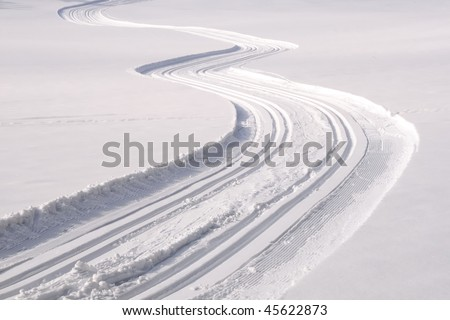 Cross country track near Gutenbrunn in the Waldviertel region Lower Austria on a sunny summer winter day - stock photo