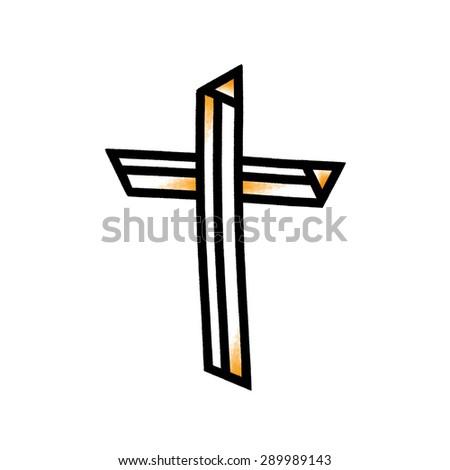 Cross illustration; Christian cross symbol - stock photo