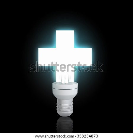 Cross light bulb glowing icon on dark background - stock photo