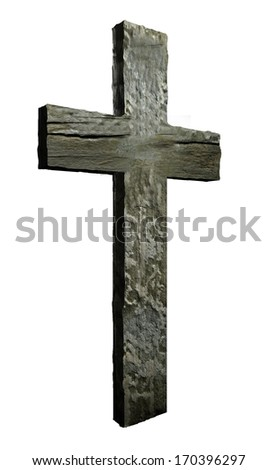 Cross made from wood  isolated on white - stock photo