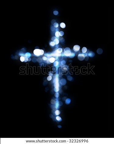 Cross made of lights - stock photo