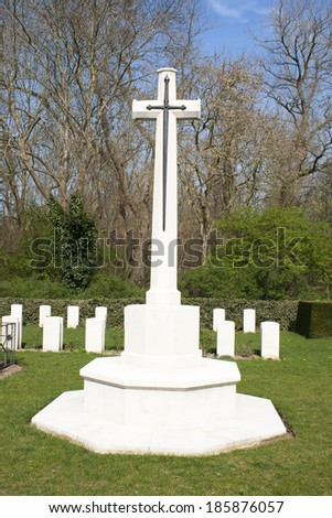 Cross of Sacrifice world war 1 cemetery  - stock photo