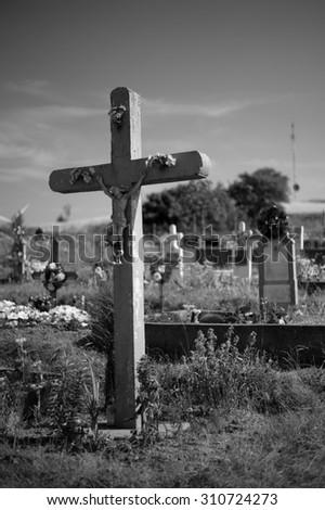 cross on cemetery in Svata Helena in Romania - stock photo