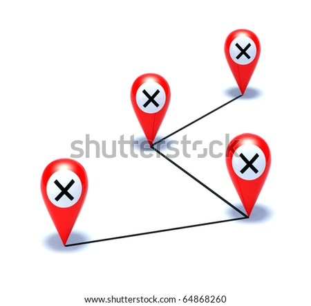 cross on red pointer - stock photo