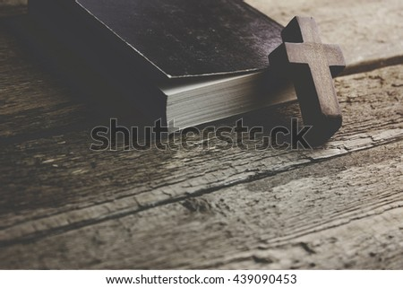 cross on the  book background - stock photo