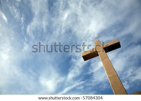 Cross on the hill above Dubrovnik, Croatia - stock photo