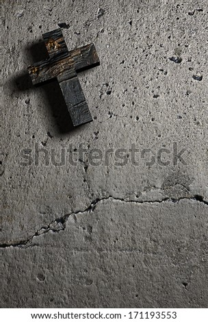Cross on the wall made in 3d software - stock photo