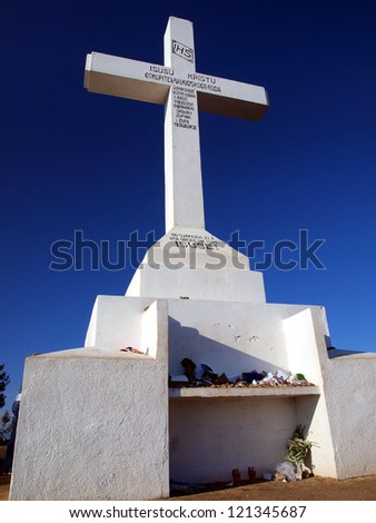 cross on top of Krizevac near Medjugorje in Bosnia-Herzegovina, a place of numerous pilgrimages from all over the world - stock photo