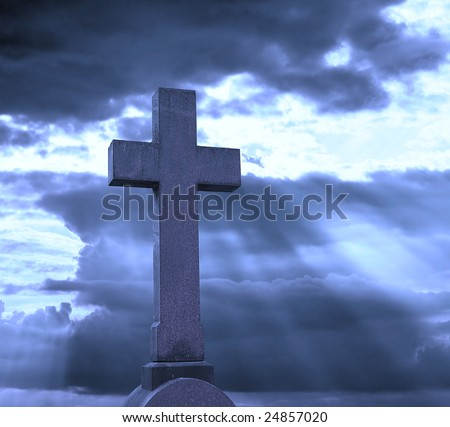 cross over cloudy sky - stock photo