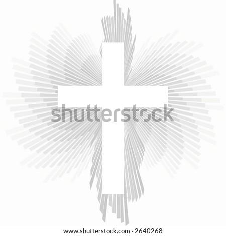Cross over light background. - stock photo