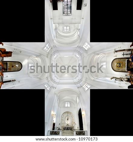Cross panorama of a church. Church in Poland, Warsaw. - stock photo