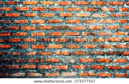 Cross Processing Style old brick wall background texture - stock photo