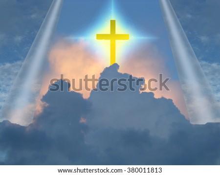 Cross radiates supernatural energy - stock photo