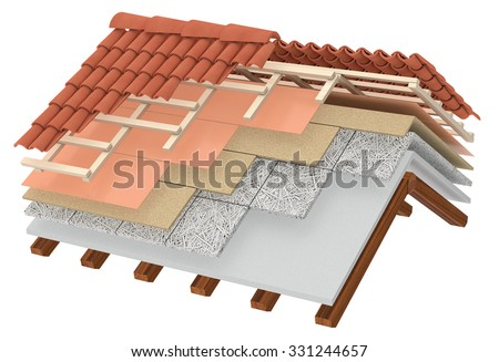 cross-section of a house roof. All the layers are visible. thermal insulation, white background (3d render) - stock photo