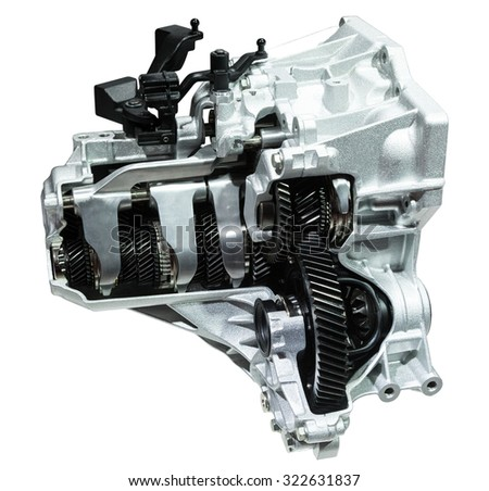Cross section of a modern six speed automatic transmission isolated on white - stock photo