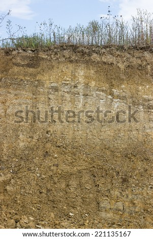 Cross section of dirt, dirt background after working excavator - stock photo