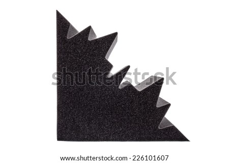 cross section of microfiber foam insulation for noise in the corners of the music studio or acoustic halls, rooms or houses - stock photo