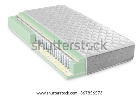 Cross section of sofa, armchair, mattress and upholstery - Open structure of furniture seat - Foam, latex and bonnell with clipping path - stock photo