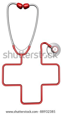 Cross-shaped stethoscope. Isolated on white background - stock photo