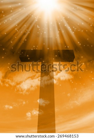 Cross silhouette and the cloudy sky with stars  - stock photo
