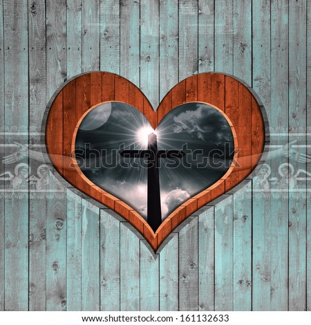 cross, silhouette, sky,sun, clouds, background wood in the shape of heart - stock photo