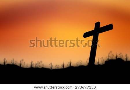 Cross silhouette sunset background. - stock photo