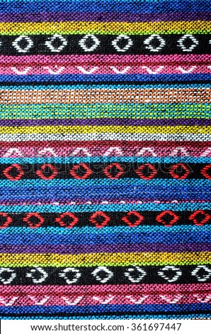 Cross stitch embroidery on canvas.Tribal handmade woven cotton fabrics form Chiengmai, Thailand. Pattern for design element. - stock photo