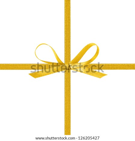 cross thin yellow ribbon with bow, isolated on white - stock photo