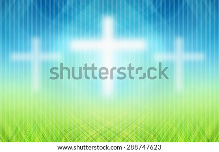 Cross white background abstract blue and green. - stock photo