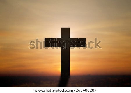 Cross with beautiful background. - stock photo