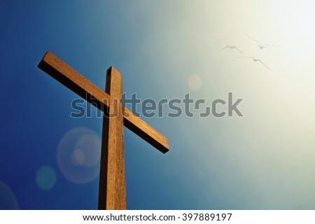Cross with bird and sunlight blue sky - stock photo